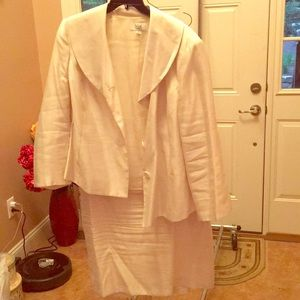 White Blazer and Skirt Business Suit